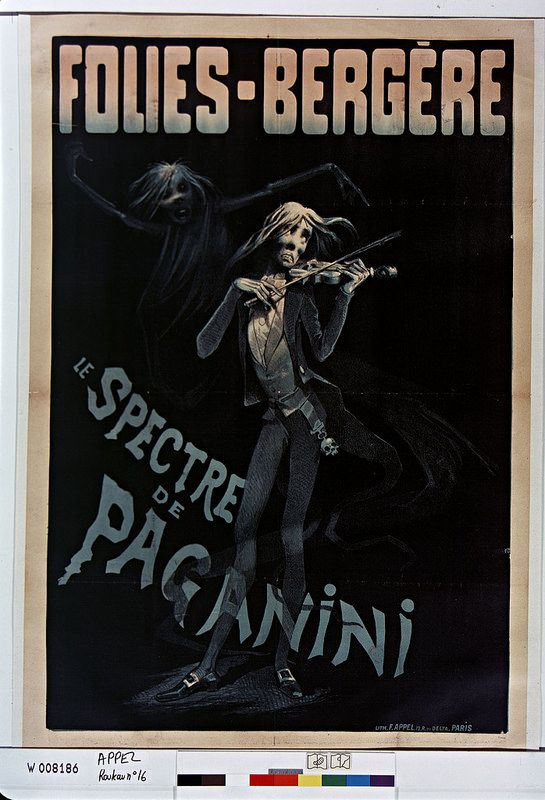 19th cent. french music-hall poster - sinister figure from Paganini
