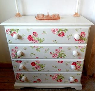 Chest of drawers makeover, painted and covered using Cath Kidston wallpaper. Love!