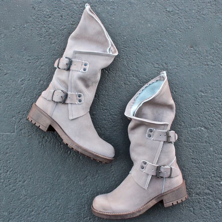 Alida leather motorcycle boots - taupe