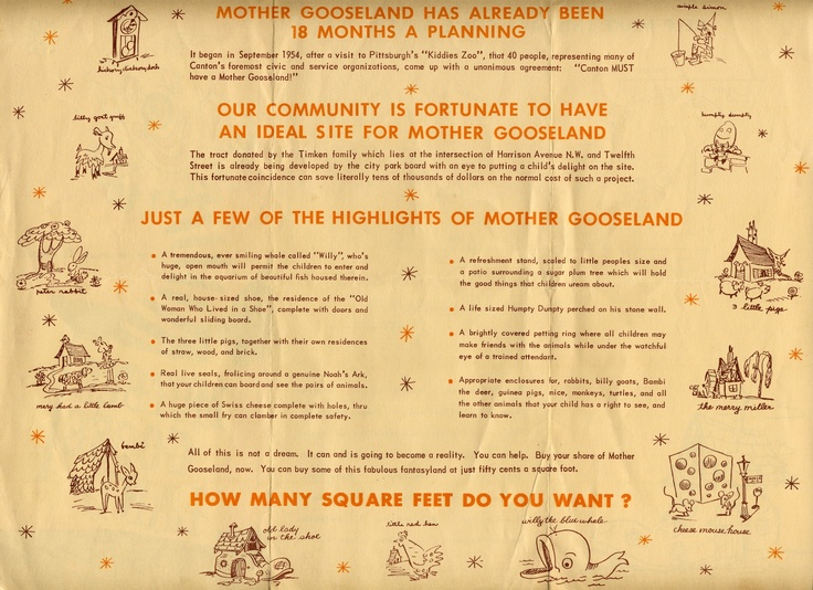 A brochure to raise funds for Mother Gooseland in Canton, Ohio in the 1950s.  From the collection of the McKinley Presidential Library & Museum.: Mothers Gooseland