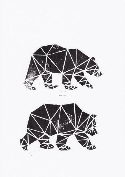 Linoldruck - Bären - ein Designerstück von WeDoCutPrint bei DaWanda