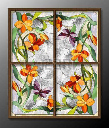 manchada: modelo del vitral con flores rojas y mariposas