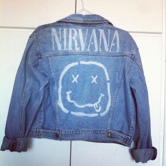 Denim Jacket Nirvana Logo Stencil Artwork Logos