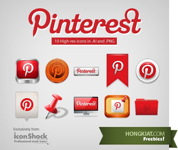 [Freebie] Pinterest Icon Set: on Hongkiat.com