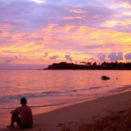 Surfing Holiday at Arugam Bay, Sri Lanka - After a superb day of surfing, relax and watch the sunset.