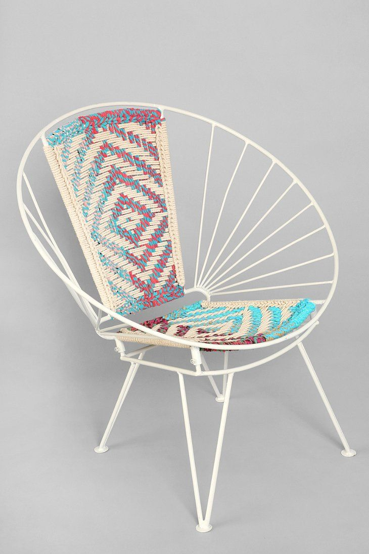 Vintage mid century modern metal folding wire mesh patio chairs - Magical Thinking Woven Wire Chair