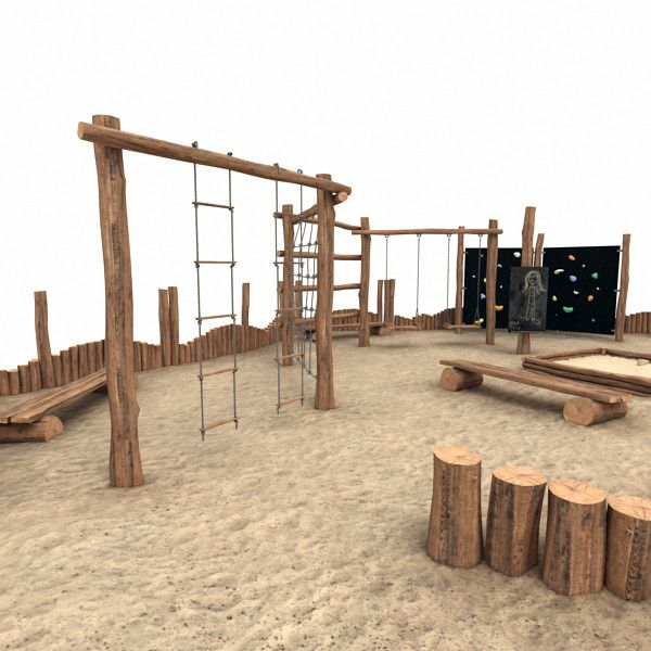 Wooden Playground idea, cool rope ladders and climbing wall
