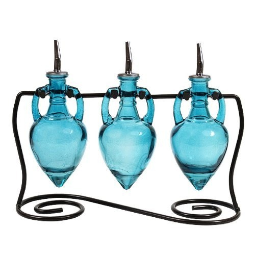 Liquid Dispensers Set Of 3 Aqua Decorative Amphora Style Bottles With Chrome Spouts Black Metal Swirl Stand By Knobs More Home Decor