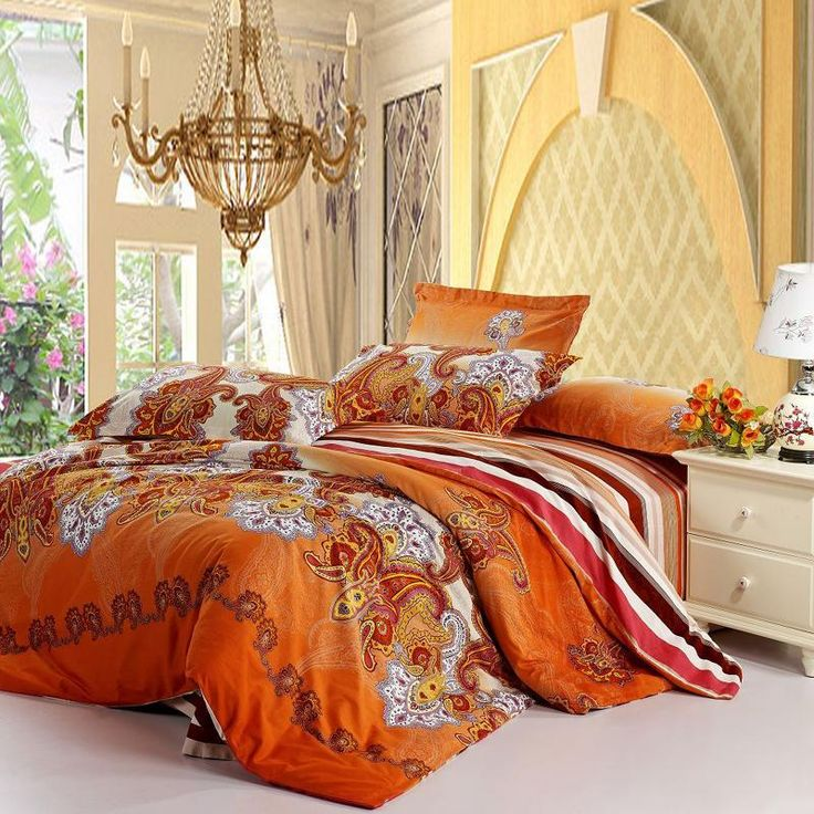 Rust Orange White and Purple Western Paisley Pop Print with Wide Stripe Full, Queen Size Tribal Bedding Sets - EnjoyBedding.com