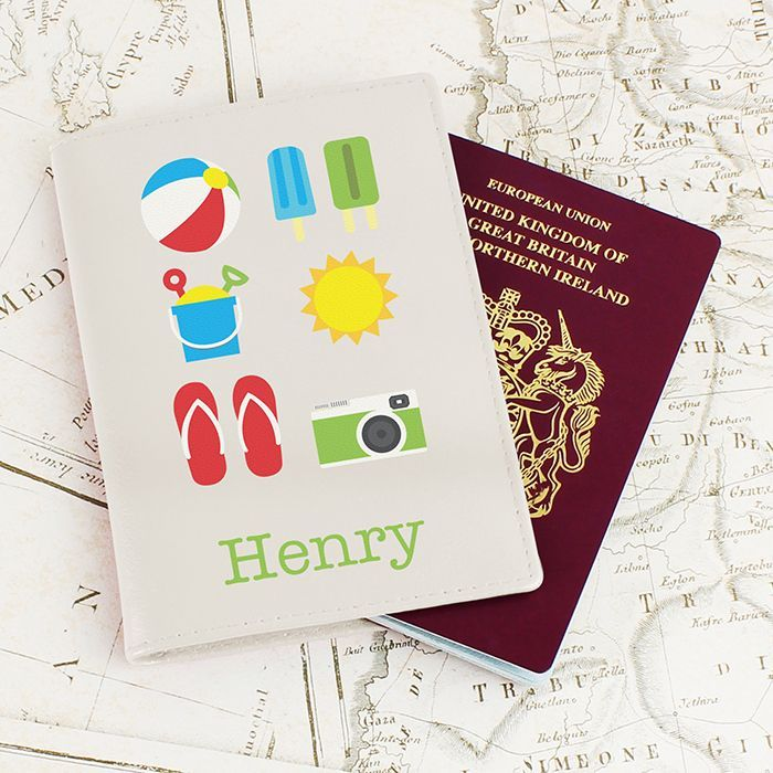 A stylish passport holder and also a great way not to forget all the essentials for the beach You can personalise this passport holder with a name up
