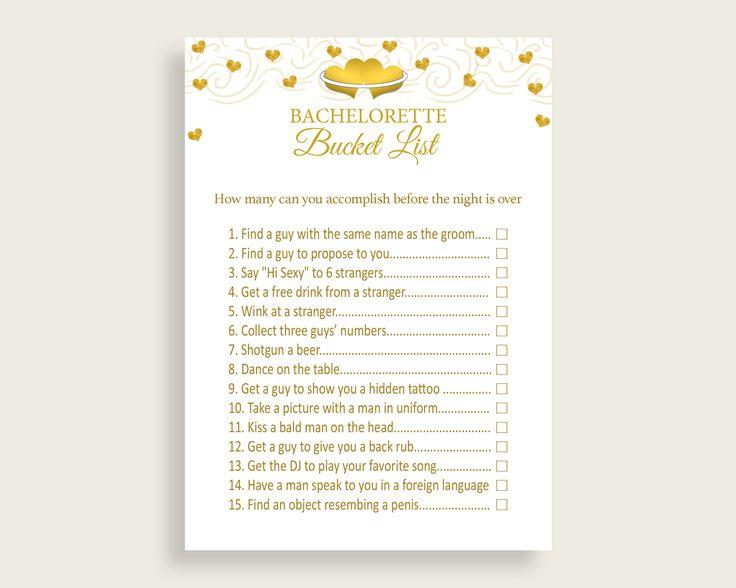 Bachelorette Bucket List Bridal Shower Bachelorette Bucket List Gold Hearts Bridal Shower Bachelorette Bucket List Bridal Shower Gold 6GQOT #bridalshower #bride-to-be #bridetobe