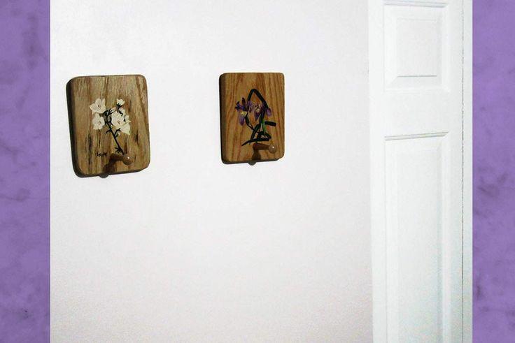 Wall Art Decor Coat Rack - Purple Accent Wall Coat Rack - Iris Bellflower Wall Hook for Home Décor by Lyssjart on Etsy