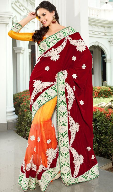 Maroon And Orange Color Velvet And Net Indian Saree TRKS129. Save: 5% off