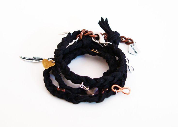 Black wraparound bracelet in deerskin leather with charms  #jewelry #wraparound #leather #bracelet #wrap #handmade #drop #mensfashionblogger #Beach #mens