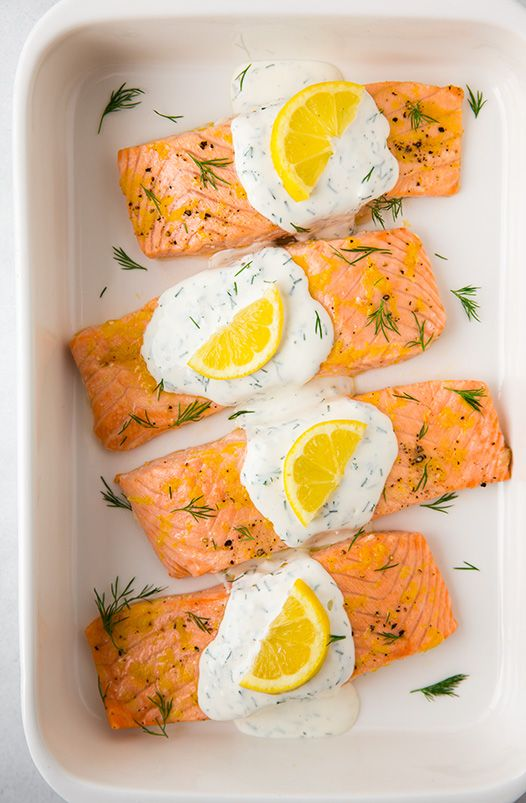 Baked Lemon Salmon with Creamy Dill Sauce | Cooking Classy.
