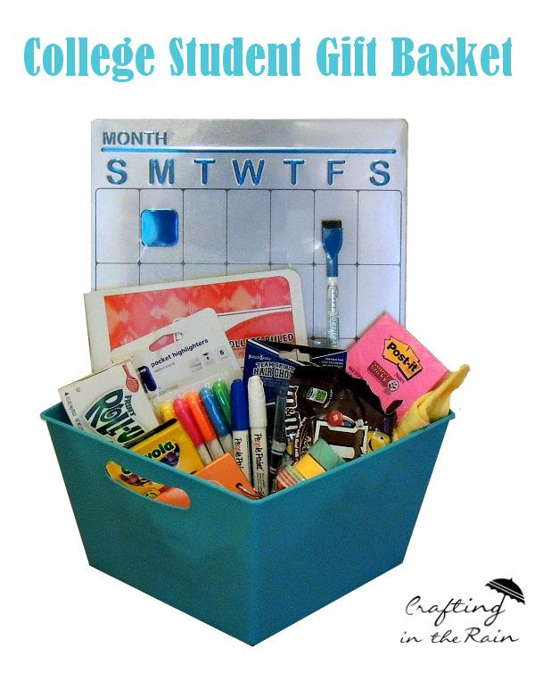 Need some ideas for a college student gift basket? Stephanie on our Creative Team is here to help! -Linda   There's something about extra pointy pencils and Post-it notes that makes the most chaotic person (ahem) feel like they can be an organizin