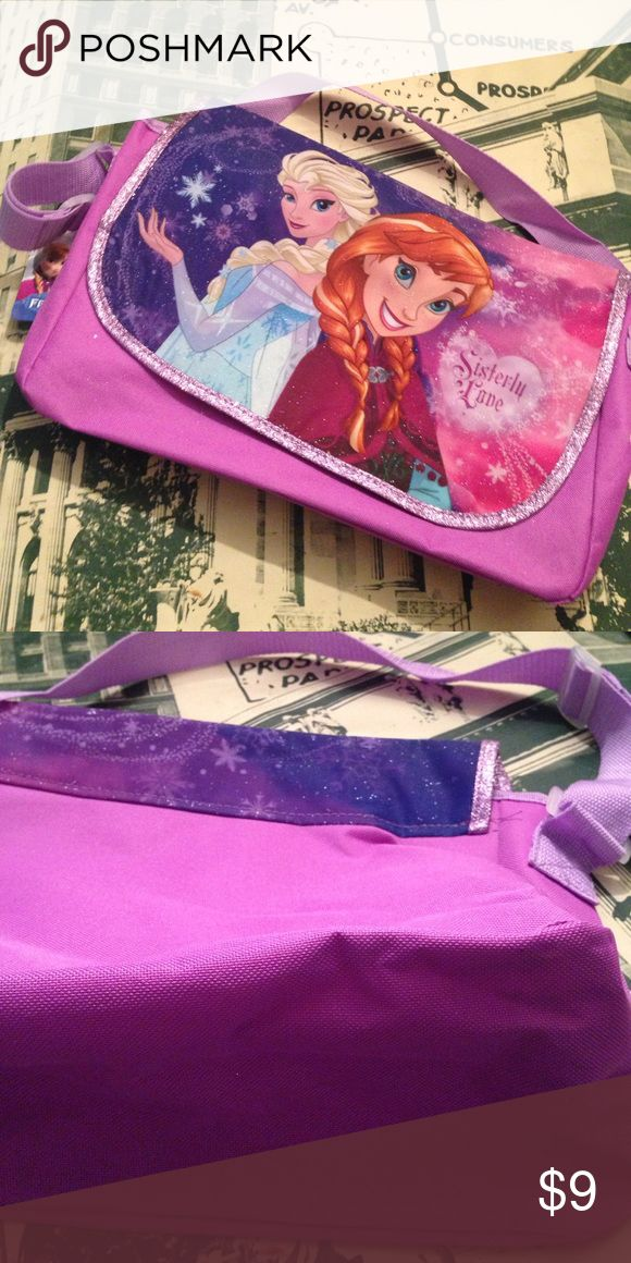 Kids Disney frozen book bag Disney princess frozen sisterly love bookbag in pink and purple with glitter Disney Accessories Bags