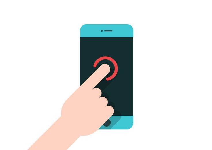 Finger Touching Smartphone Flat Vector