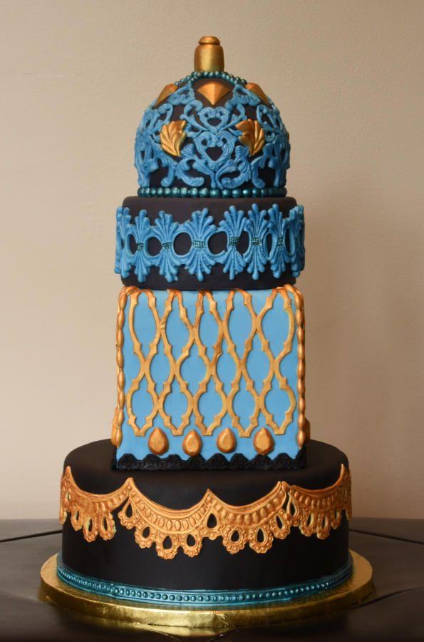 Metalic Wedding Cake by Rosanna Bayer - http://cakesdecor.com/cakes/298632-metalic-wedding-cake