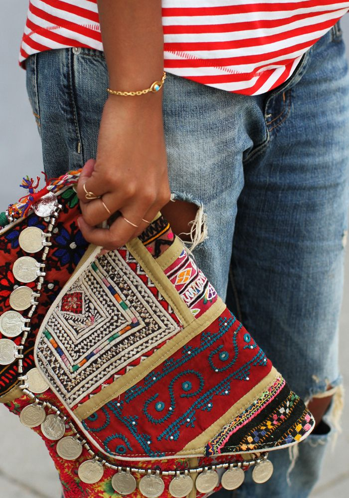add in some new bold colored clutches to refresh your Spring denim basics