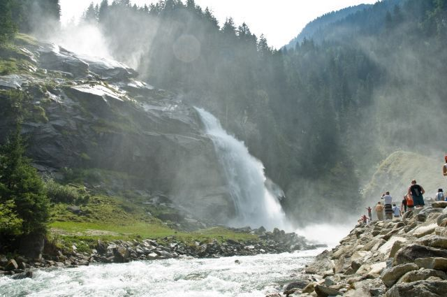 """Europes highest waterfalls """"Krimmler Wasserfälle"""" - With their impressive waterfall drop of 380 m the Krimml Waterfalls are the fifth highest waterfalls in the world"""