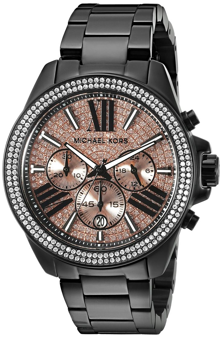 Michael Kors Women\u0027s Wren Analog Display Analog Quartz Black Watch I like  that its like a mens watch with a feminine touch!