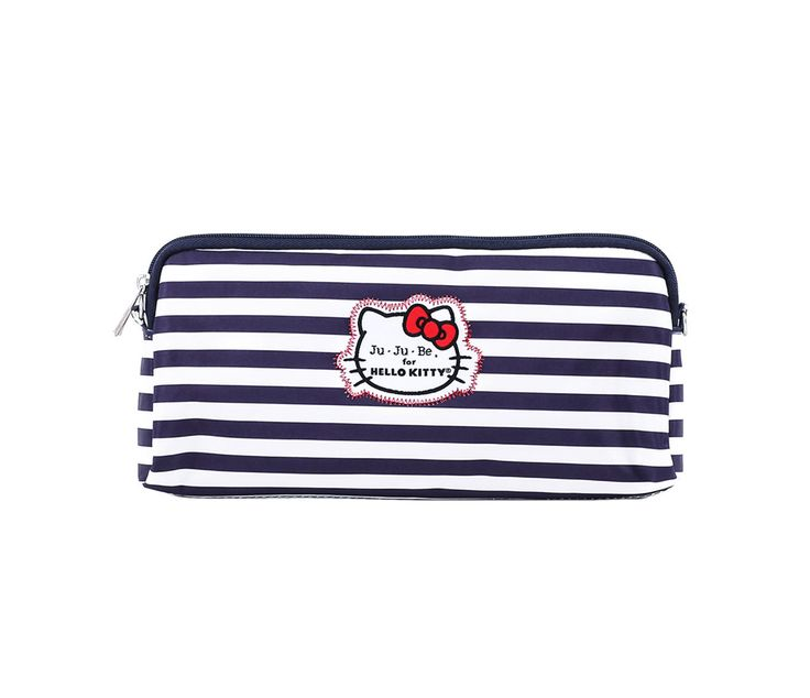"""Ju-Ju-Be x Hello Kitty Summer 2016 Collection """"Be Set"""" Set Of 3 Pouches in Out To Sea (Item # 59634-201607), $50 via Sanrio.Com (View #3 of 4, Detail of Medium Pouch)"""