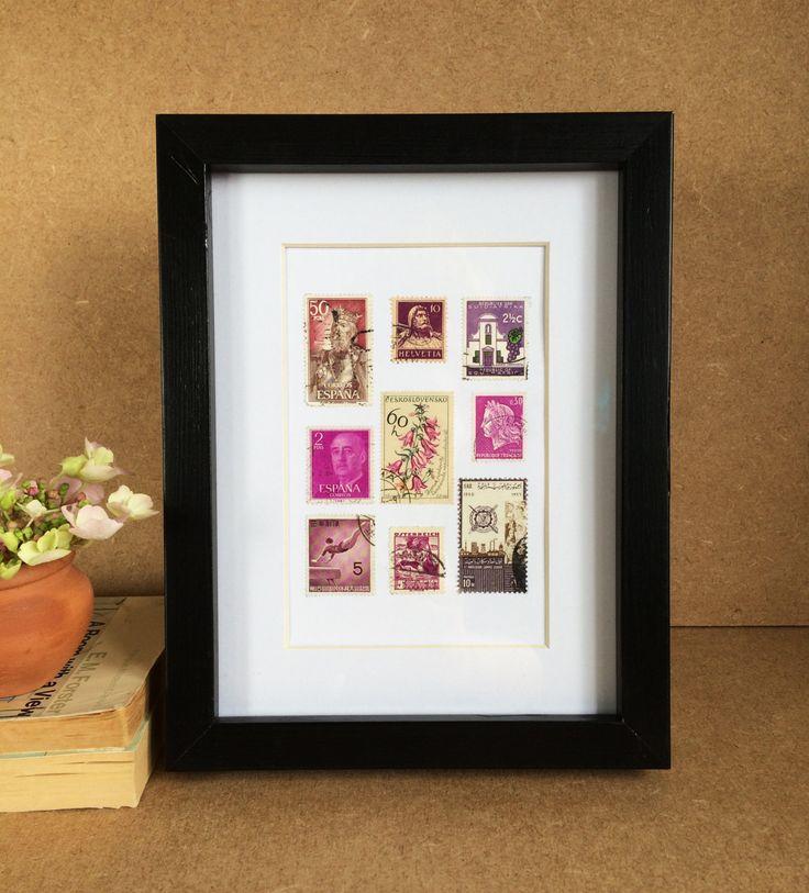 Vintage Framed Stamp Artwork - Violet by Bettyandbetts on Etsy