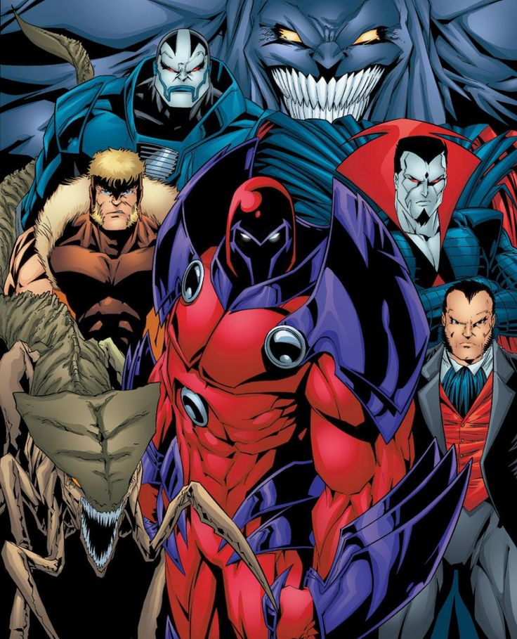 X-Men Villains: the Brood, Sabretooth, Apocalypse, Shadow King, Mr. Sinister, Sebastian Shaw, and Onslaught
