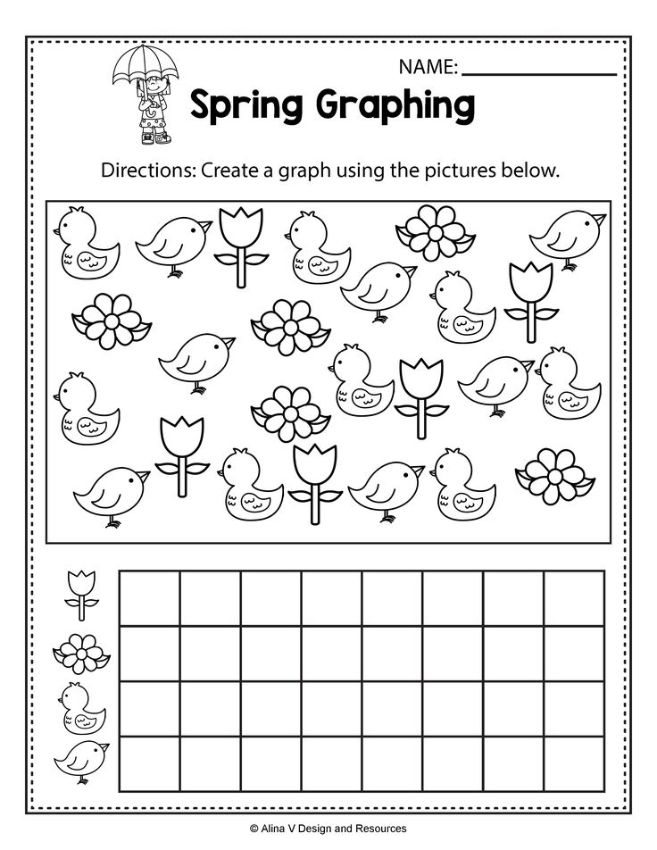 Spring Activities For Kindergarten, Spring Math Worksheets