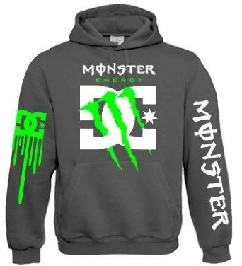 Monster Energy Dc Shoes Green Claw Hoodie (Large, Heather Grey): Amazon.co.uk: Clothing