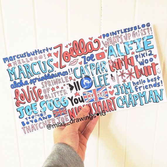British Youtubers Collage drawing 2014 by Miasdrawings on Etsy. sorry..... I just love collages like this!
