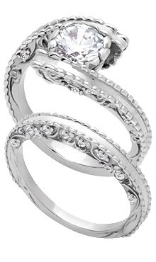 Bypass Engagement Ring with Matching Band
