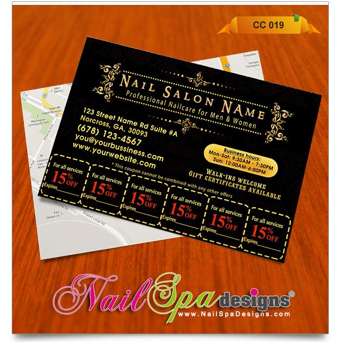Coupon Card Template For Nail Salon. Visit Www.NailSpaDesigns.com/catalog  For  Coupon Flyer Template