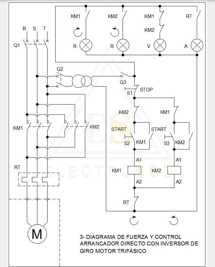 Diagrama De Arranque Directo Con Inversión De Giro Saludos Ele Diagrama De Instalacion Electrica Diagrama De Circuito Simbolos De Electricidad