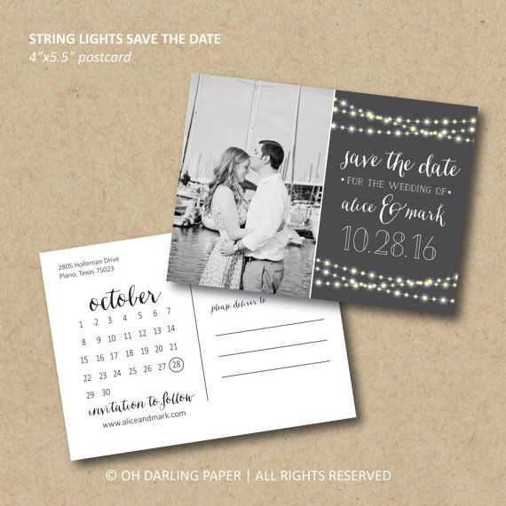 Printable Save the Date Postcard  String Lights by OhDarlingPaper