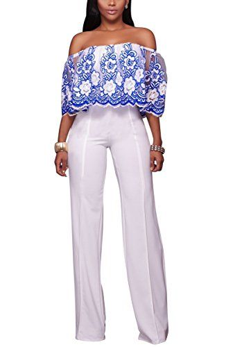 Special Offer: $24.99 amazon.com Women's Sexy off Shoulder Loose Long Wide Leg Jumpsuits RompersJump into this seductive knit off-shoulder jumpsuit for a contemporary take on classically romantic look. This elegant jumpsuit boasts trendy off-the-shoulder neckline and an embroidered...