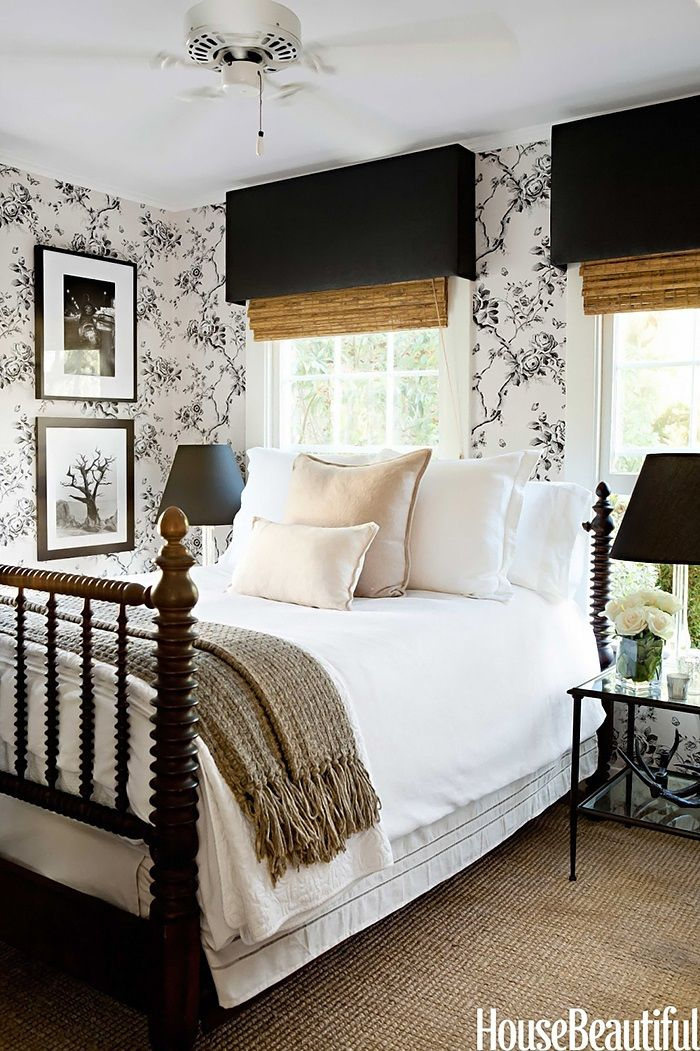 Black & white bedroom   A Glamorous Farmhouse design by Tobi Tobin