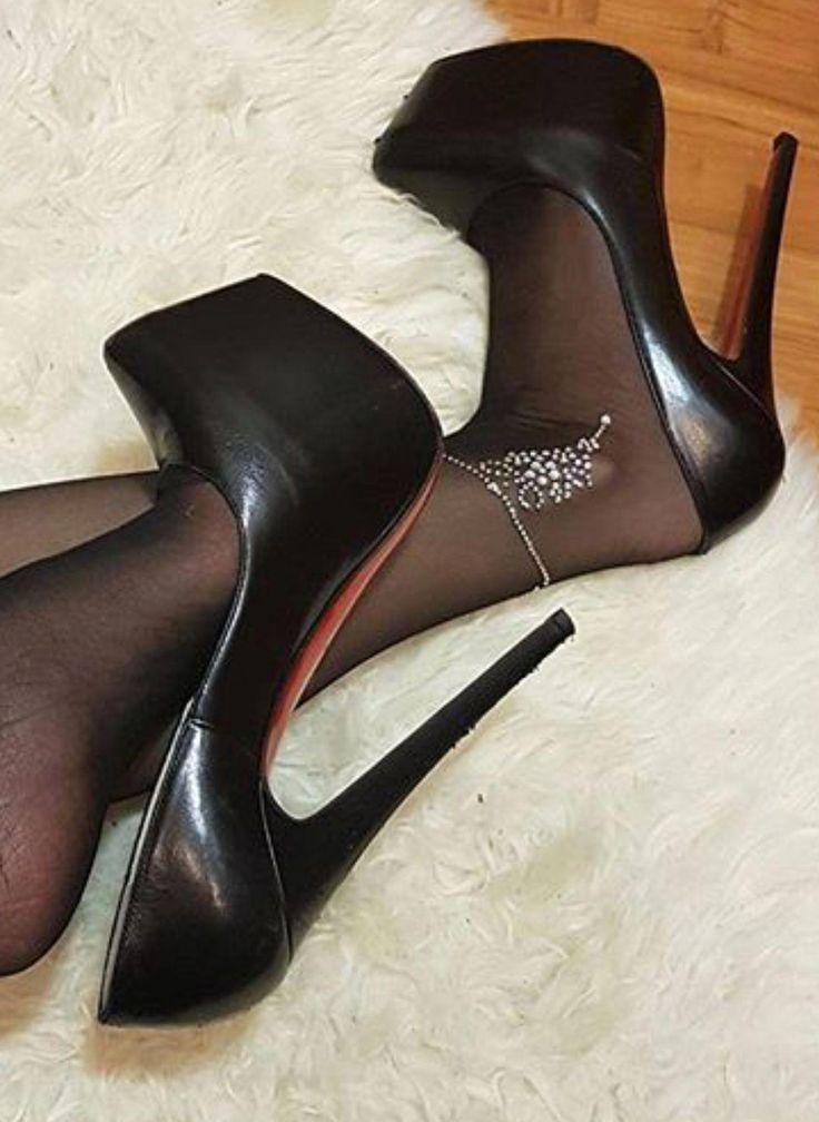Sexy Black Open Toe Ankle Strap Platform Stiletto High Heels