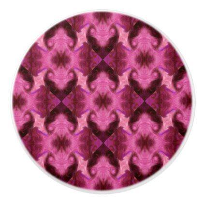 Pink Damask Hearts Ceramic Knob - cool gift idea unique present special diy