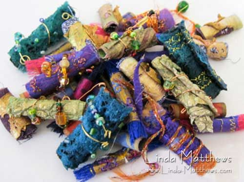 How to make simple and perfectly shaped fabric beads | Linda Matthews: Textile Art & Design
