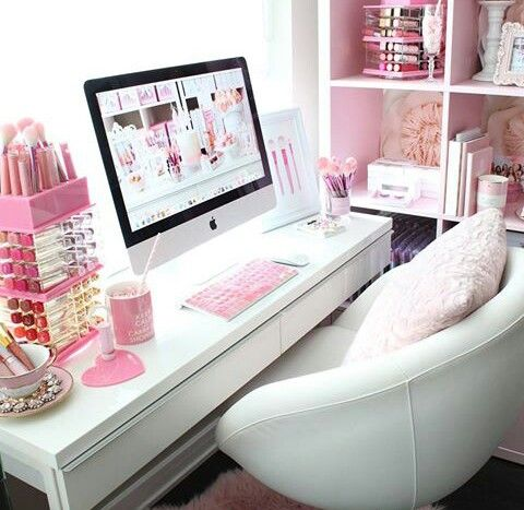 1000 ideas about pink desk chair on pinterest pink desk desk chairs and built in bookcase - Pink office desk ...
