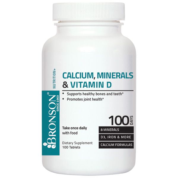 $4.04 save 32%!  Calcium, Minerals & Vitamin D 100 Tablets