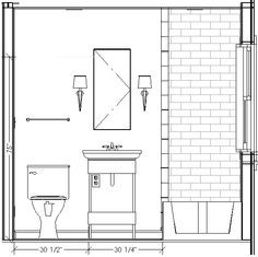Bathroom Elevation Drawing Tiny Bathroom Pinterest