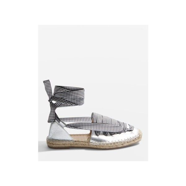 Topshop King Lace Up Espadrilles ($61) ❤ liked on Polyvore featuring shoes, sandals, silver, espadrille sandals, topshop shoes, twisted shoes, lace up shoes and summer sandals
