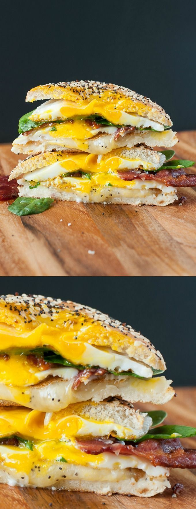 Everything Bagel Grilled Cheese Breakfast Sandwich :: Breakfast just got really, really, ridiculously AWESOME!