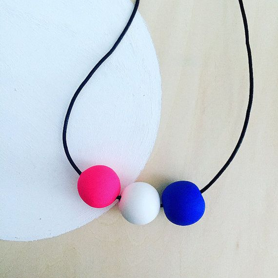 modern bright bold pink blue white colorful polymer clay necklace handmade by accentvault | unique happy gift for her