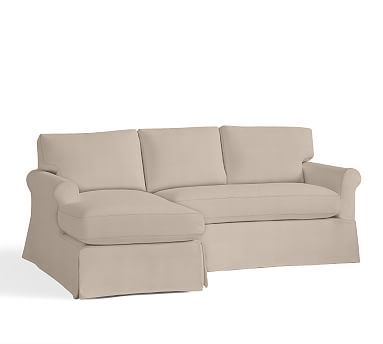 York Roll Arm Slipcovered Right Arm Sofa With Chaise Sectional, Down Blend  Wrapped Cushions,