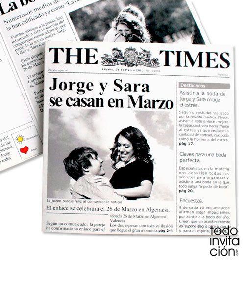 """Invitación de boda muy divertida tipo portada de periódico. Redactado a la manera de la presa """"seria"""" y con la imagen de un diario de noticias."""