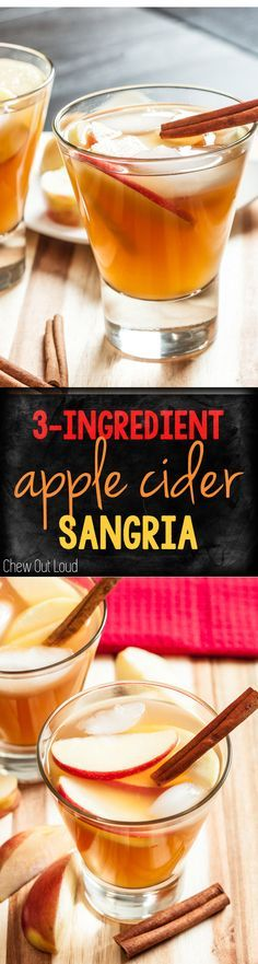 This Easy Apple Cider Sangria needs only 3 ingredients to get the party started. Add in your favorite garnishes for a super-easy, delicious fall cocktail!